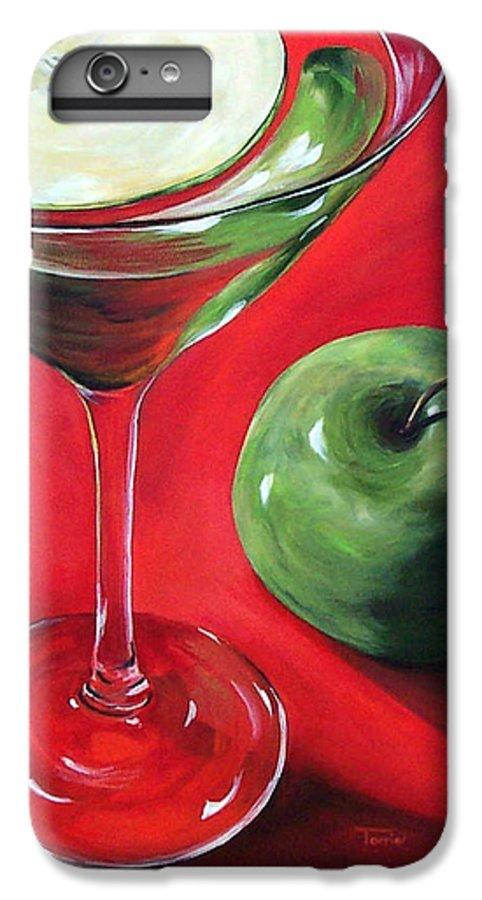 Martini IPhone 6s Plus Case featuring the painting Green Apple Martini by Torrie Smiley