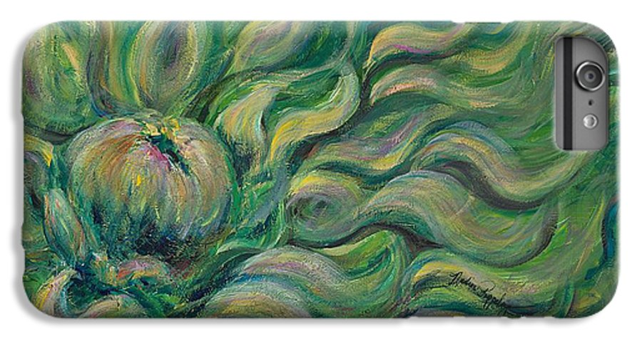 Green IPhone 6s Plus Case featuring the painting Green Flowing Flower by Nadine Rippelmeyer