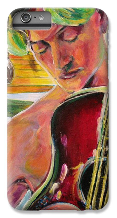 Boy IPhone 6s Plus Case featuring the painting Green Hair Red Bass by Dennis Tawes
