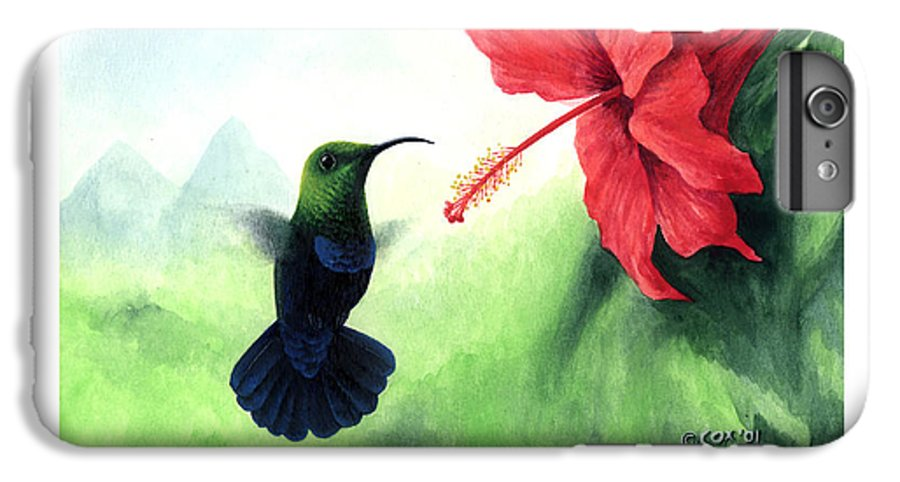 Chris Cox IPhone 6s Plus Case featuring the painting Green-throated Carib Hummingbird And Red Hibiscus by Christopher Cox