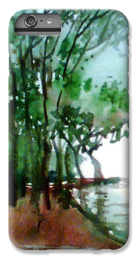 Water Color IPhone 6s Plus Case featuring the painting Greens by Anil Nene