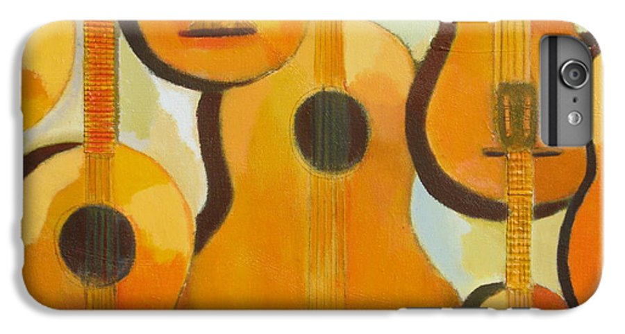 Abstract IPhone 6s Plus Case featuring the painting Guitars by Habib Ayat