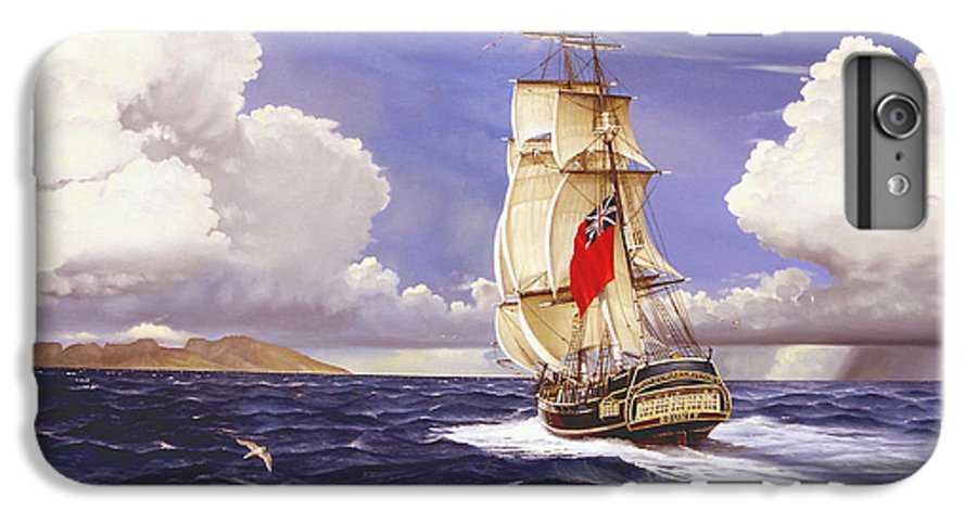 Marine IPhone 6s Plus Case featuring the painting H. M. S. Bounty At Tahiti by Marc Stewart