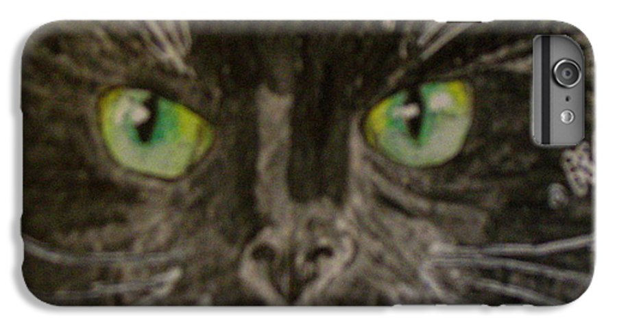 Halloween IPhone 6s Plus Case featuring the painting Halloween Black Cat I by Kathy Marrs Chandler