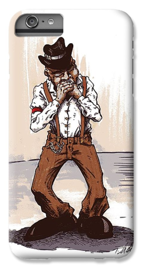Blues IPhone 6s Plus Case featuring the drawing Harmonica by Tobey Anderson