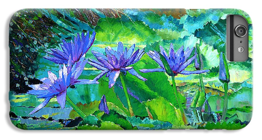 Purple Water Lilies IPhone 6s Plus Case featuring the painting Harmony Of Purple And Green by John Lautermilch