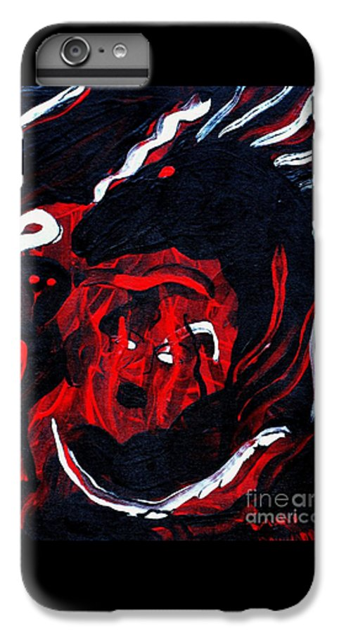Horse Woman Red Black Silver IPhone 6s Plus Case featuring the painting Hell Beast by Dawn Downour