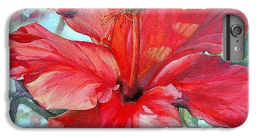 Floral Painting IPhone 6s Plus Case featuring the painting Hibiscus Rouge by Muriel Dolemieux