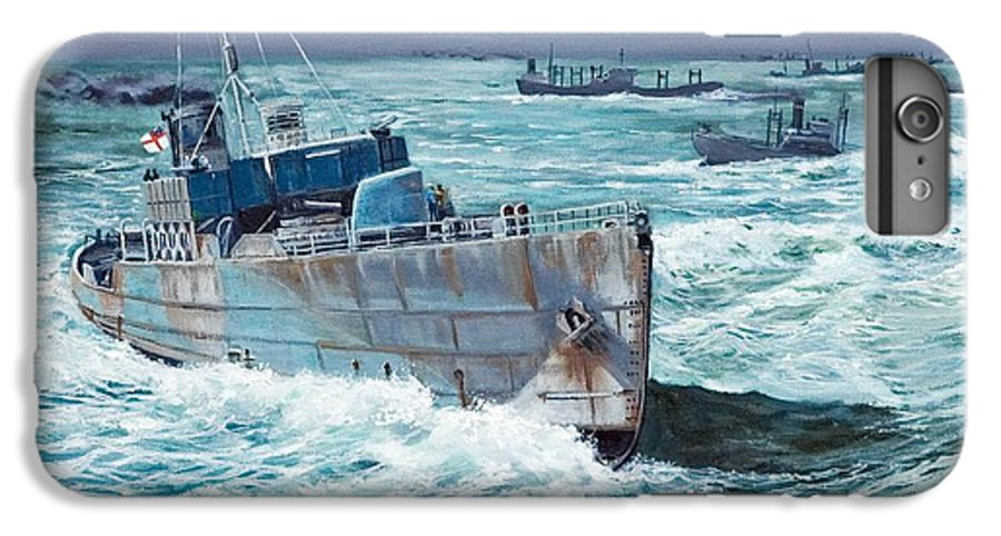 Hms Compass Rose IPhone 6s Plus Case featuring the painting Hms Compass Rose Escorting North Atlantic Convoy by Glenn Secrest