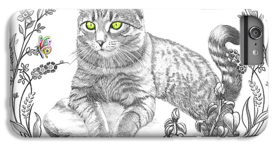 Cat IPhone 6s Plus Case featuring the drawing House Cat by Murphy Elliott