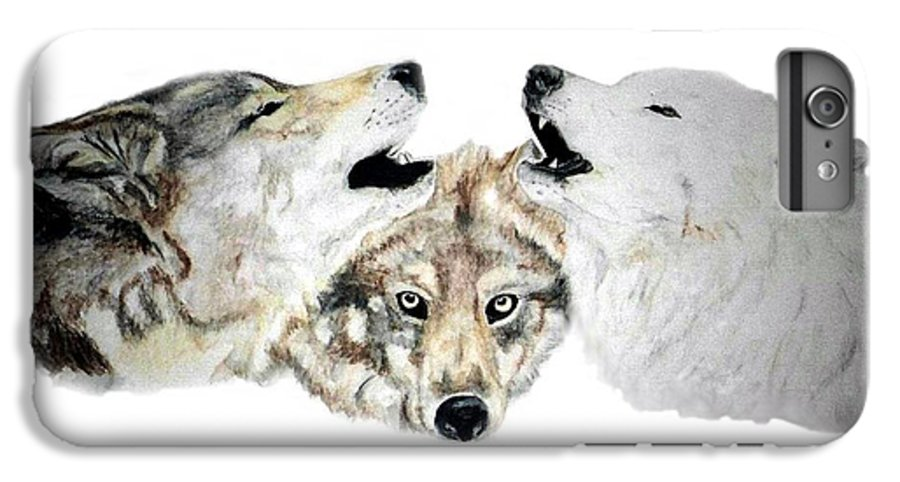 Wolves IPhone 6s Plus Case featuring the painting Howling by Debra Sandstrom