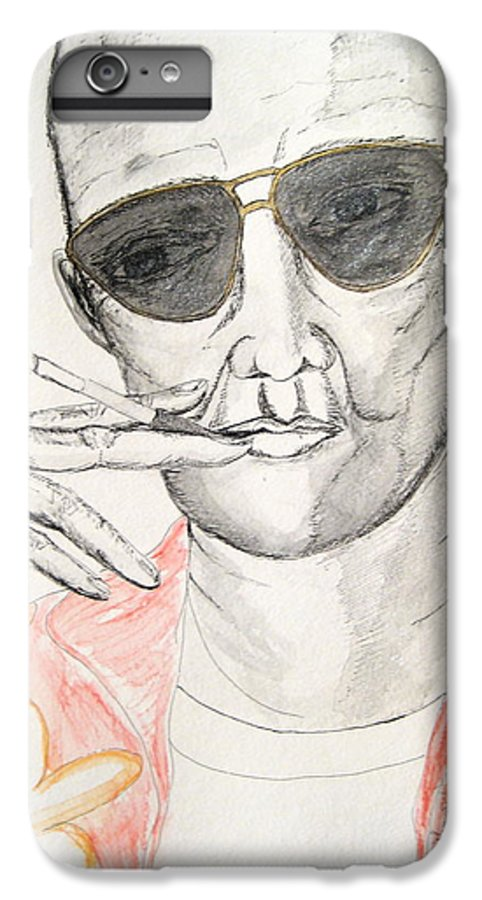 Hunter Thompson Gonzo Journalist Portrait Man Darkestartist Darkest Artist IPhone 6s Plus Case featuring the painting Hunter S. Thompson by Darkest Artist
