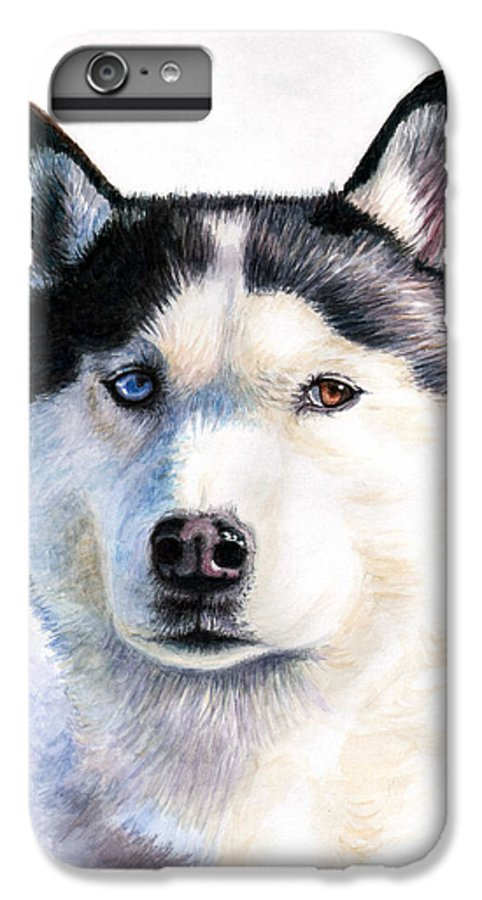 Dog IPhone 6s Plus Case featuring the painting Husky Blue by Nicole Zeug