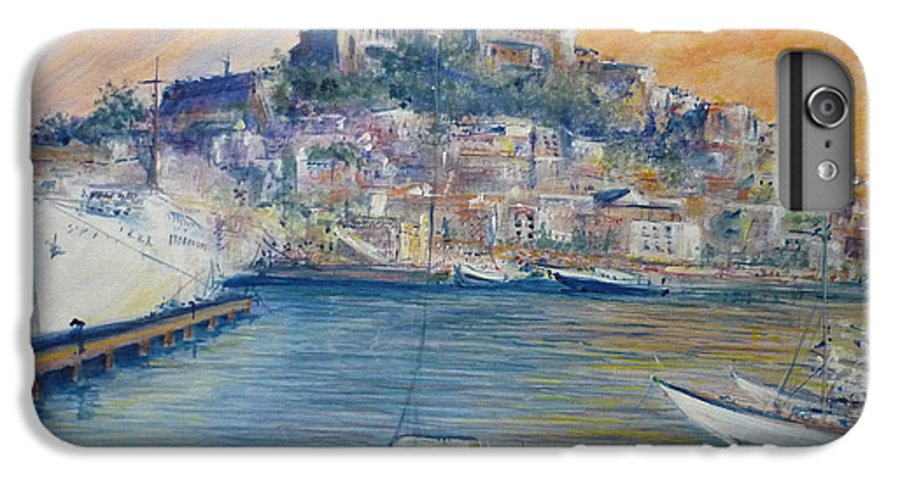 Marina IPhone 6s Plus Case featuring the painting Ibiza Old Town Marina And Port by Lizzy Forrester
