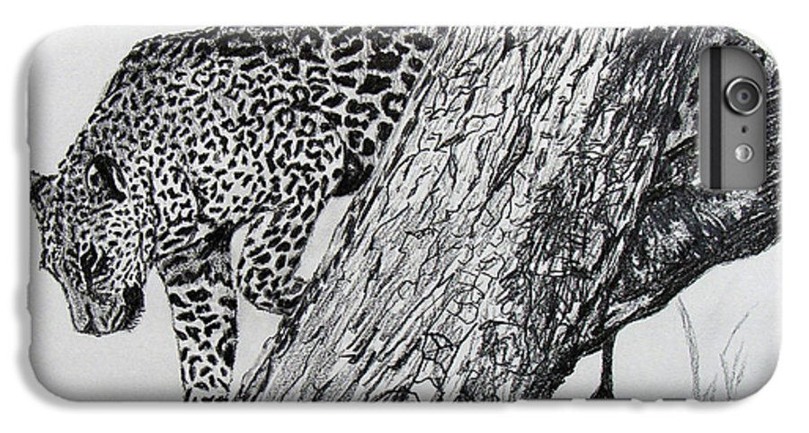 Original Drawing IPhone 6s Plus Case featuring the drawing Jaquar In Tree by Stan Hamilton