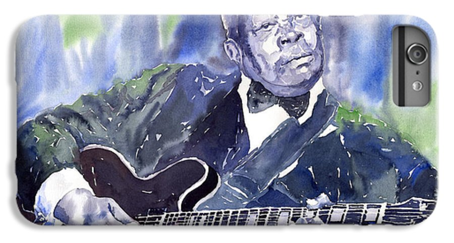 Jazz Bbking Music Watercolor Watercolour Guitarist Portret IPhone 6s Plus Case featuring the painting Jazz B B King 01 by Yuriy Shevchuk