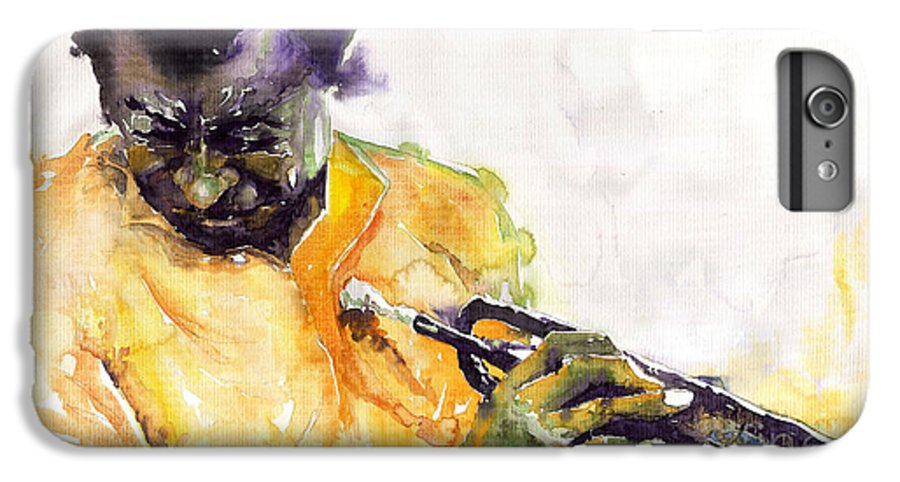 Davis Figurativ Jazz Miles Music Portret Trumpeter Watercolor Watercolour IPhone 6s Plus Case featuring the painting Jazz Miles Davis 7 by Yuriy Shevchuk