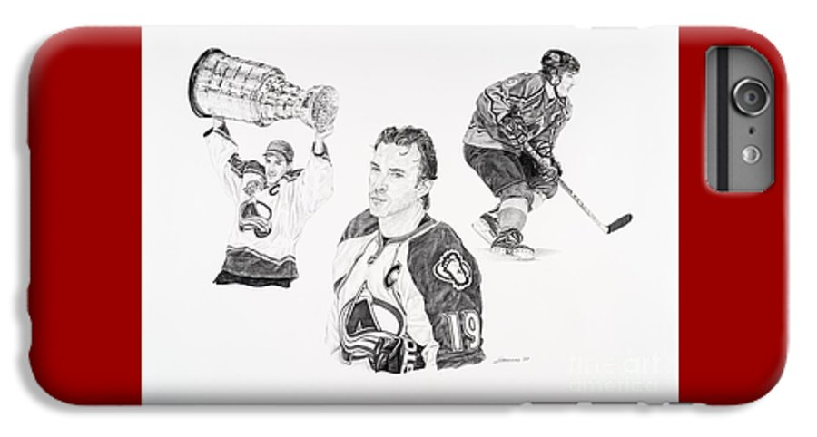 Hockey IPhone 6s Plus Case featuring the drawing Joe Sakic by Shawn Stallings