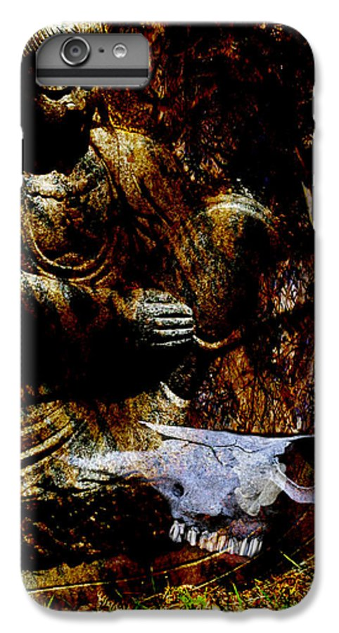 Kwan Yin IPhone 6s Plus Case featuring the mixed media Kwan Yin Meditates by Ann Tracy