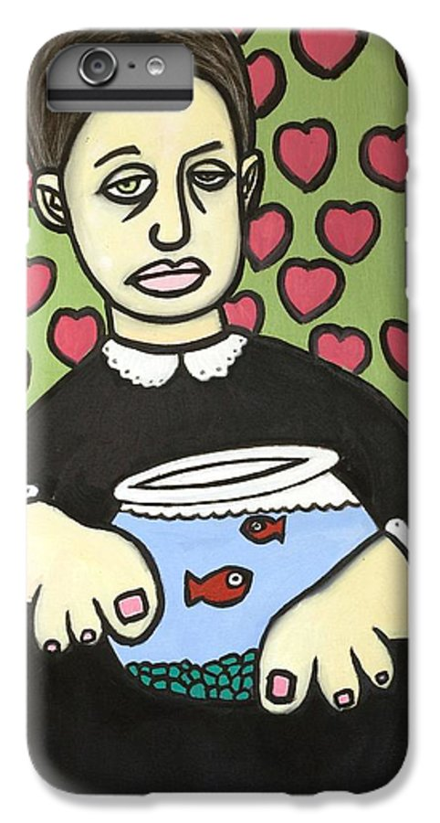 IPhone 6s Plus Case featuring the painting Lady With Fish Bowl by Thomas Valentine