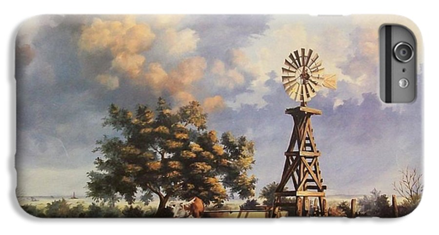 A New Mexico Landscape. IPhone 6s Plus Case featuring the painting Lea County Memories by Wanda Dansereau