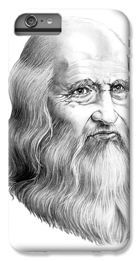 Famous Person IPhone 6s Plus Case featuring the drawing Leonardo Da Vinci by Murphy Elliott