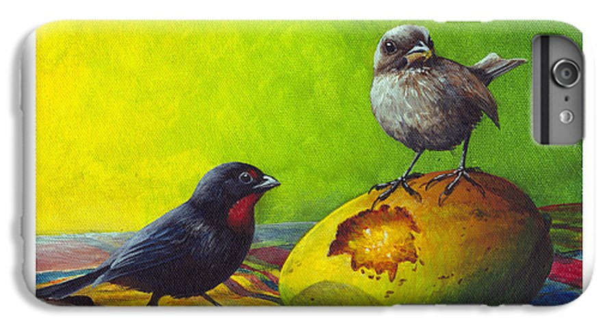 Chris Cox IPhone 6s Plus Case featuring the painting Lesser Antillean Bullfinches And Mango by Christopher Cox