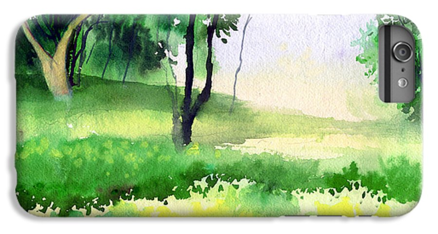 Watercolor IPhone 6s Plus Case featuring the painting Let's Go For A Walk by Anil Nene