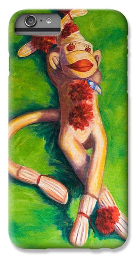 Sock Monkey IPhone 6s Plus Case featuring the painting Life Is Good by Shannon Grissom