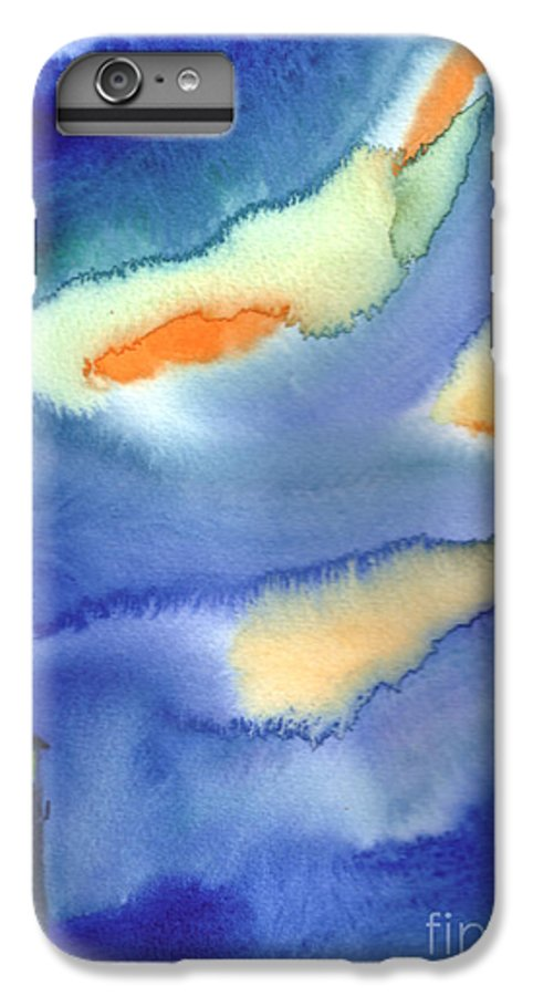 A Lighthouse In A Beautiful Stormy Night. This Is A Contemporary Watercolor Painting. IPhone 6s Plus Case featuring the painting Lighthouse by Mui-Joo Wee
