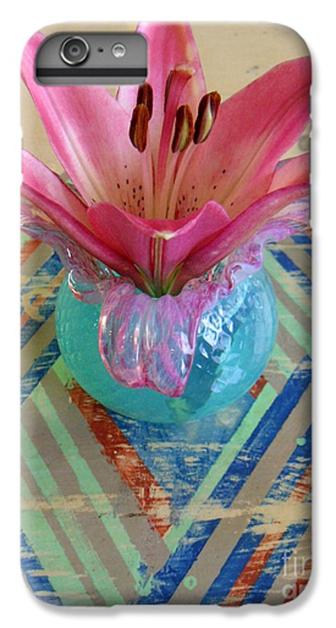 Nature IPhone 6s Plus Case featuring the photograph Lily On A Painted Table Too by Lucyna A M Green