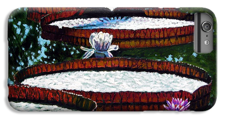 Garden Pond IPhone 6s Plus Case featuring the painting Lily Pad Highlights by John Lautermilch