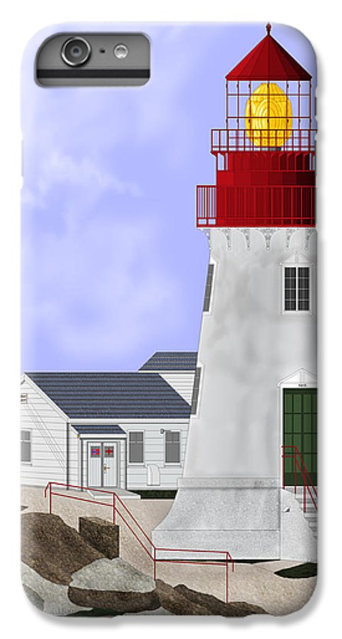 Lighthouse IPhone 6s Plus Case featuring the painting Lindesnes Norway Lighthouse by Anne Norskog