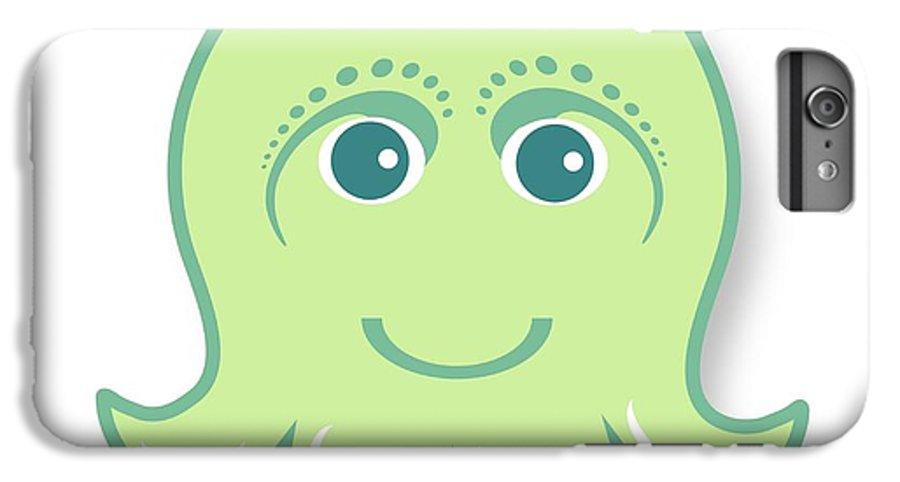 Little Octopus IPhone 6s Plus Case featuring the digital art Little Cute Green Octopus by Ainnion