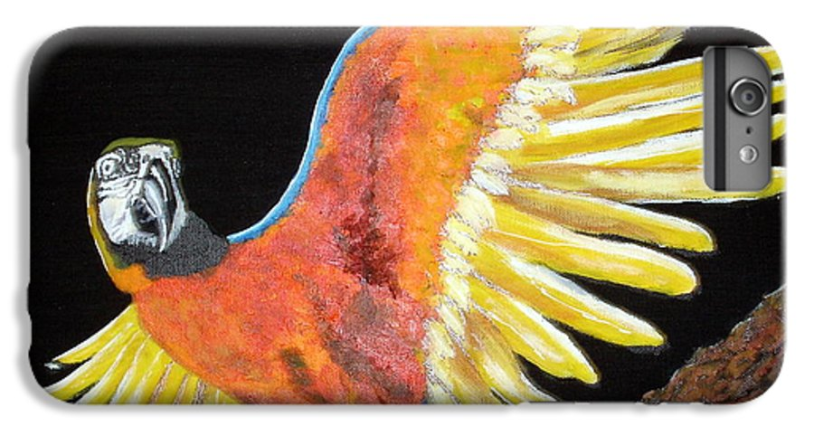 Macaw IPhone 6s Plus Case featuring the painting Macaw - Wingin' It by Susan Kubes