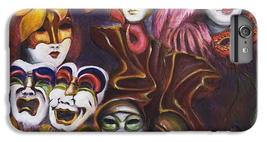 Masks IPhone 6s Plus Case featuring the painting Making Faces I by Nik Helbig