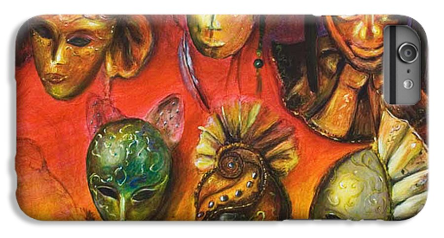 Masks IPhone 6s Plus Case featuring the painting Making Faces IIi by Nik Helbig