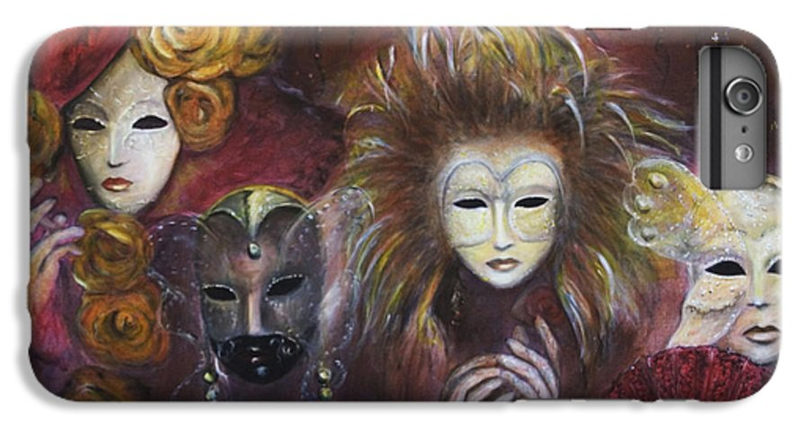 Masks IPhone 6s Plus Case featuring the painting Making Faces Vi by Nik Helbig