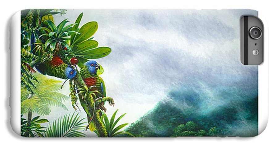 Chris Cox IPhone 6s Plus Case featuring the painting Mountain High - St. Lucia Parrots by Christopher Cox