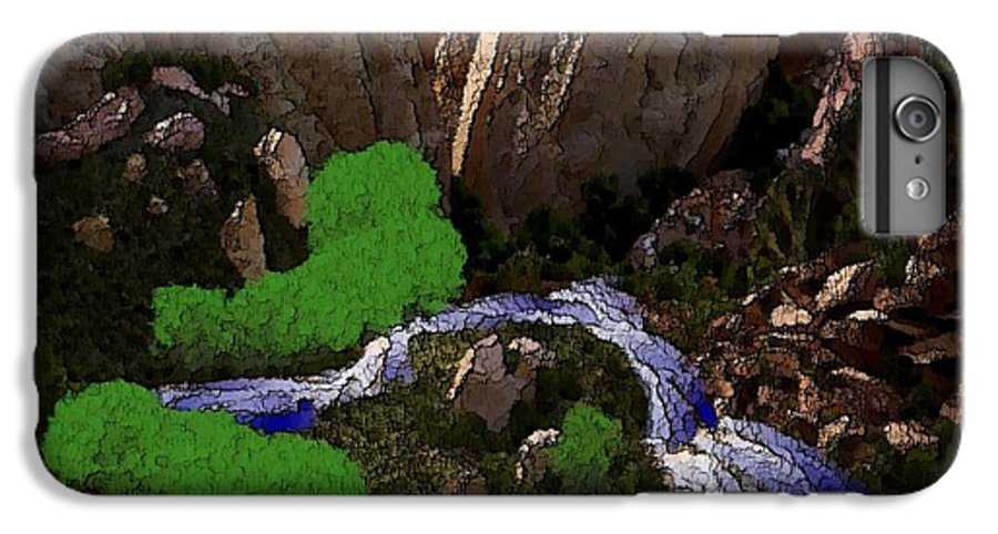 Stones.rocks.mountines.sky.cloud.bushes.river.water.flow. IPhone 6s Plus Case featuring the digital art Mountine River by Dr Loifer Vladimir