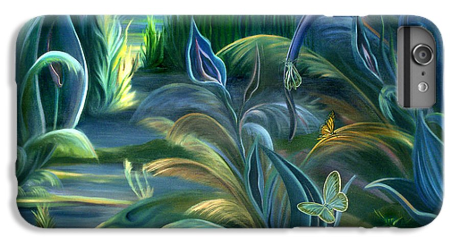 Mural IPhone 6s Plus Case featuring the painting Mural Insects Of Enchanted Stream by Nancy Griswold