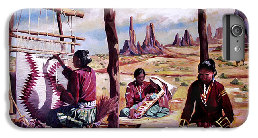 Native American IPhone 6s Plus Case featuring the painting Navajo Weavers by Nancy Griswold
