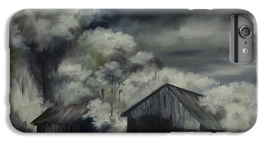Motel; Route 66; Desert; Abandoned; Delapidated; Lost; Highway; Route 66; Road; Vacancy; Run-down; Building; Old Signage; Nastalgia; Vintage; James Christopher Hill; Jameshillgallery.com; Foliage; Sky; Realism; Oils; Barn IPhone 6s Plus Case featuring the painting Night Barn by James Christopher Hill