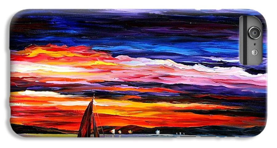Seascape IPhone 6s Plus Case featuring the painting Night Sea by Leonid Afremov