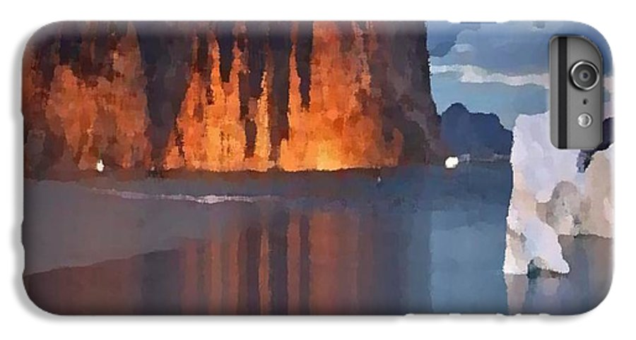 North.rock.iceberg.sea.sky.clouds.cold.landscape.nature.rest.silence IPhone 6s Plus Case featuring the digital art North Silence by Dr Loifer Vladimir