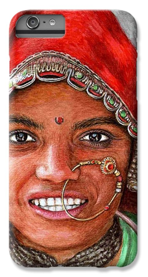 Woma IPhone 6s Plus Case featuring the painting Northindian Woman by Nicole Zeug