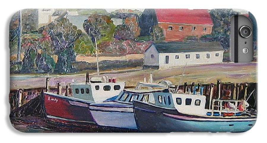 Nova Scotia IPhone 6s Plus Case featuring the painting Nova Scotia Boats by Richard Nowak