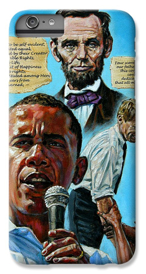 Obama IPhone 6s Plus Case featuring the painting Obamas Heritage by John Lautermilch