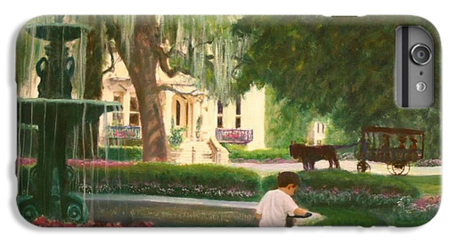 Savannah; Fountain; Child; House IPhone 6s Plus Case featuring the painting Old And Young Of Savannah by Ben Kiger