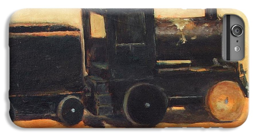 Trains IPhone 6s Plus Case featuring the painting Old Wood Toy Train by Chris Neil Smith